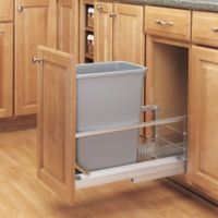 Rev-A-Shelf® Brushed Nickel Pull-Out 35 qt. Waste Containers in Silver