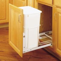 Rev-A-Shelf® Pull-Out Waste Containers in White with 3/4 Extension Slides