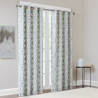 Madison Park Farrah 95-Inch Room-Darkening Grommet Top Window Curtain Panel in Blue
