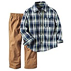 carter's® Size 12M 2-Piece Button-Front Shirt and Pant Set in Navy/Khaki