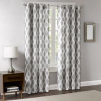 Madison Park Stella 84-Inch Room-Darkening Grommet Top Window Curtain Panel in Silver