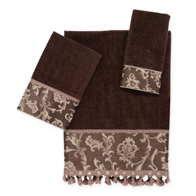 avanti damask fringe hand towel in mocha - Decorative Hand Towels