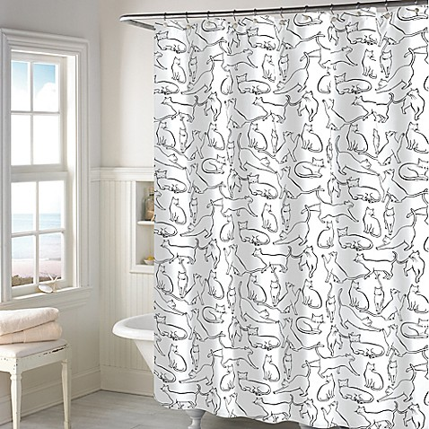 Cats Shower Curtain in White - Bed Bath & Beyond