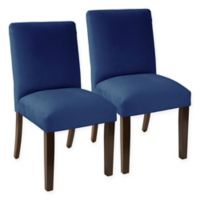 Skyline Furniture Pierre Velvet Dining Chair in Navy (Set of 2)