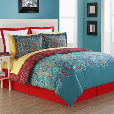 fiesta terra reversible twin comforter set in blue