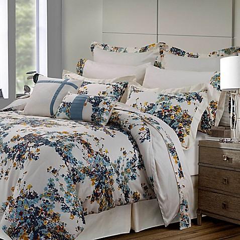 tribeca living casablanca 12 piece comforter set in blue gold bed bath beyond. Black Bedroom Furniture Sets. Home Design Ideas