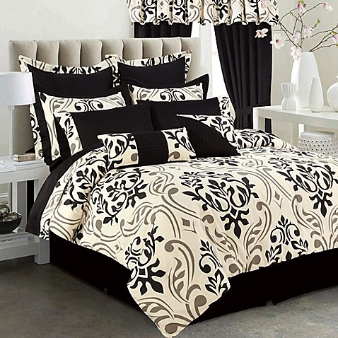 Tribeca Living Prague 12 Piece Comforter Set In Black