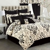 Tribeca Living Prague 12-Piece Queen Comforter Set in Black/Taupe