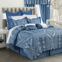 Tribeca Living Atlantis 12-Piece 300-Thread-Count Egyptian Cotton Queen Comforter Set in Blue