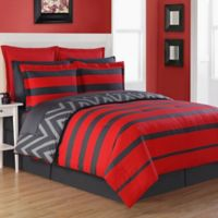 Fiesta® Biscay Reversible Queen Comforter Set in Red/Grey