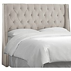 Skyline Furniture Queen Loa Nail Button Tufted Wingback Headboard in Light Grey
