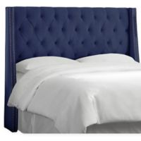 Skyline Furniture Queen Loa Nail Button Tufted Wingback Headboard in Navy