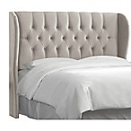Skyline Furniture Sydney Tufted Wingback King Headboard in Light Grey