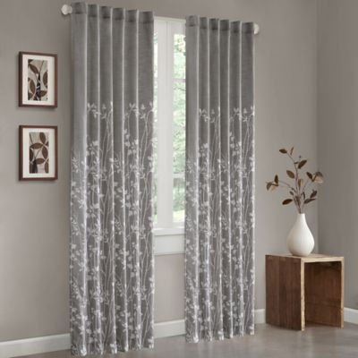 Madison Park Anaya 84 Inch Cotton Window Curtain Panel In Yellow/Grey