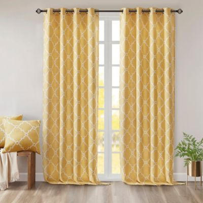 Madison Park Saratoga 63 Inch Grommet Top Window Curtain Panel In Yellow