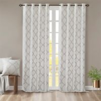 Madison Park Saratoga 108-Inch Grommet Top Window Curtain Panel in Ivory/Silver