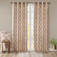 Madison Park Saratoga 108-Inch Grommet Top Window Curtain Panel in Beige/Spice