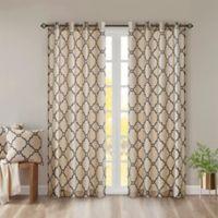 Madison Park Saratoga 63-Inch Grommet Top Window Curtain Panel in Khaki/Black