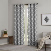 Madison Park Essentials Merritt 84-Inch Printed Fret Grommet Window Curtain Panel Pair in Grey