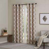 Madison Park Essentials Merritt 63-Inch Printed Fret Grommet Window Curtain Panel Pair in Khaki