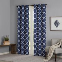Madison Park Essentials Merritt 63-Inch Printed Fret Grommet Window Curtain Panel Pair in Indigo