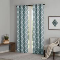 Madison Park Essentials Merritt 63-Inch Printed Fret Grommet Window Curtain Panel Pair in Blue