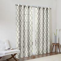 Madison Park Bond 63-Inch Textured Fretwork Printed Window Curtain Panel in Grey/Beige