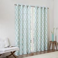 Madison Park Bond 63-Inch Textured Fretwork Printed Window Curtain Panel in Aqua/Beige