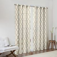 Madison Park Bond 84-Inch Textured Fretwork Printed Window Curtain Panel in Tan/Beige