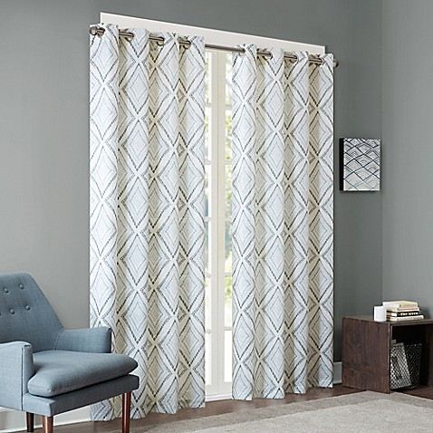 Ink Ivy Bas Printed Etched Diamond Window Curtain Panel