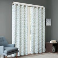 INK+IVY Bas 63-Inch Printed Etched Diamond Window Curtain Panel in Aqua