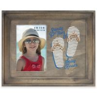 Flip Flop Sandy Toes 4-Inch x 6-Inch Picture Frame in Grey