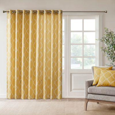 Madison Park Saratoga 84 Inch Grommet Top Patio Door Window Curtain Panel  In Yellow