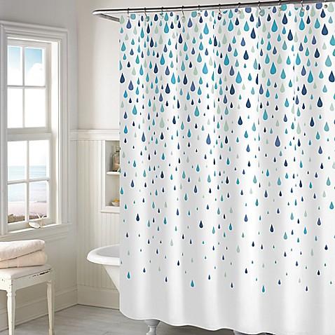 Rainy Days Shower Curtain In Aqua Bed Bath Amp Beyond