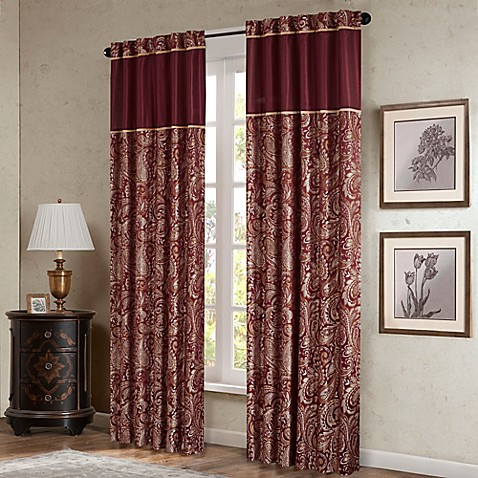 Madison park aubrey 84 inch window curtain panel pair in burgundy bed bath beyond for Bed bath and beyond curtains for living room