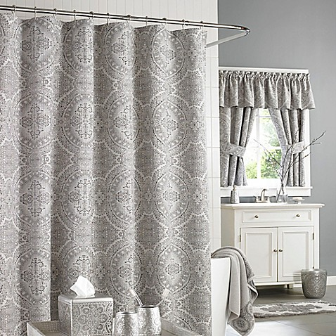 J. Queen New York™ Colette Shower Curtain in Silver - Bed Bath & Beyond