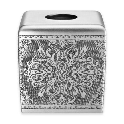 J Queen New York Colette Boutique Tissue Box Cover In Silver