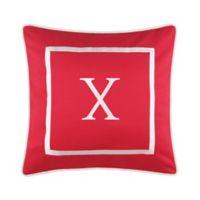 """Monogram """"X"""" 17-Inch Outdoor Pillow in Salsa"""