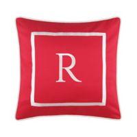 "Monogram ""R"" 17-Inch Outdoor Pillow in Salsa"