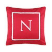 "Monogram ""N"" 17-Inch Outdoor Pillow in Salsa"