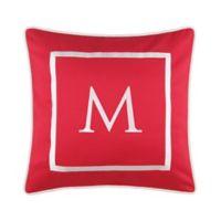 "Monogram ""M"" 17-Inch Outdoor Pillow in Salsa"
