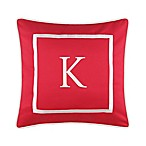 "Monogram  ""K"" 17-Inch Outdoor Pillow in Salsa"