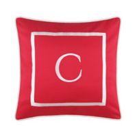 """Monogram """"C"""" 17-Inch Outdoor Pillow in Salsa"""