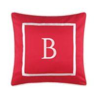 """Monogram """"B"""" 17-Inch Outdoor Pillow in Salsa"""