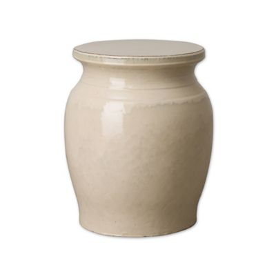 Emissary Koji Ceramic Garden Stool In Cream