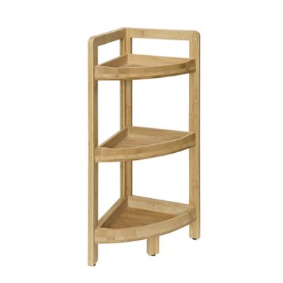 Charming 3 Tier Corner Shelf In Bamboo