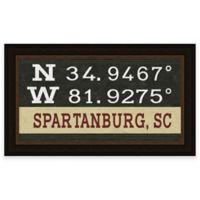 Spartanburg, South Carolina Coordinates Framed Wall Art