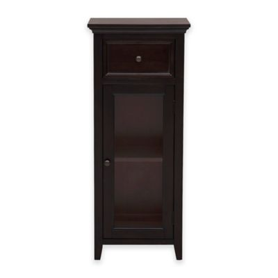 Pulaski Glass Door Bathroom Storage Cabinet In Warm Chocolate Brown