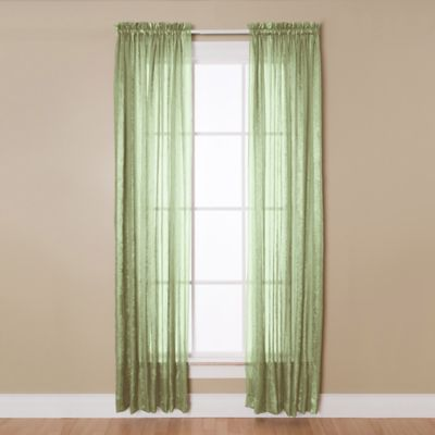 Aria 84 Inch Rod Pocket Sheer Window Curtain Panel In Sage