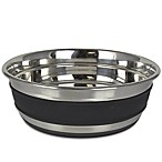 Black Striped Stainless Steel Large Pet Bowl in Silver/Black